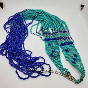 Jewelry - Woven Seed Bead India Long Layered Necklace Blue